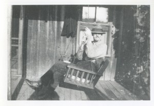 grandpa in porch swing