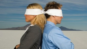 blindfolded couple